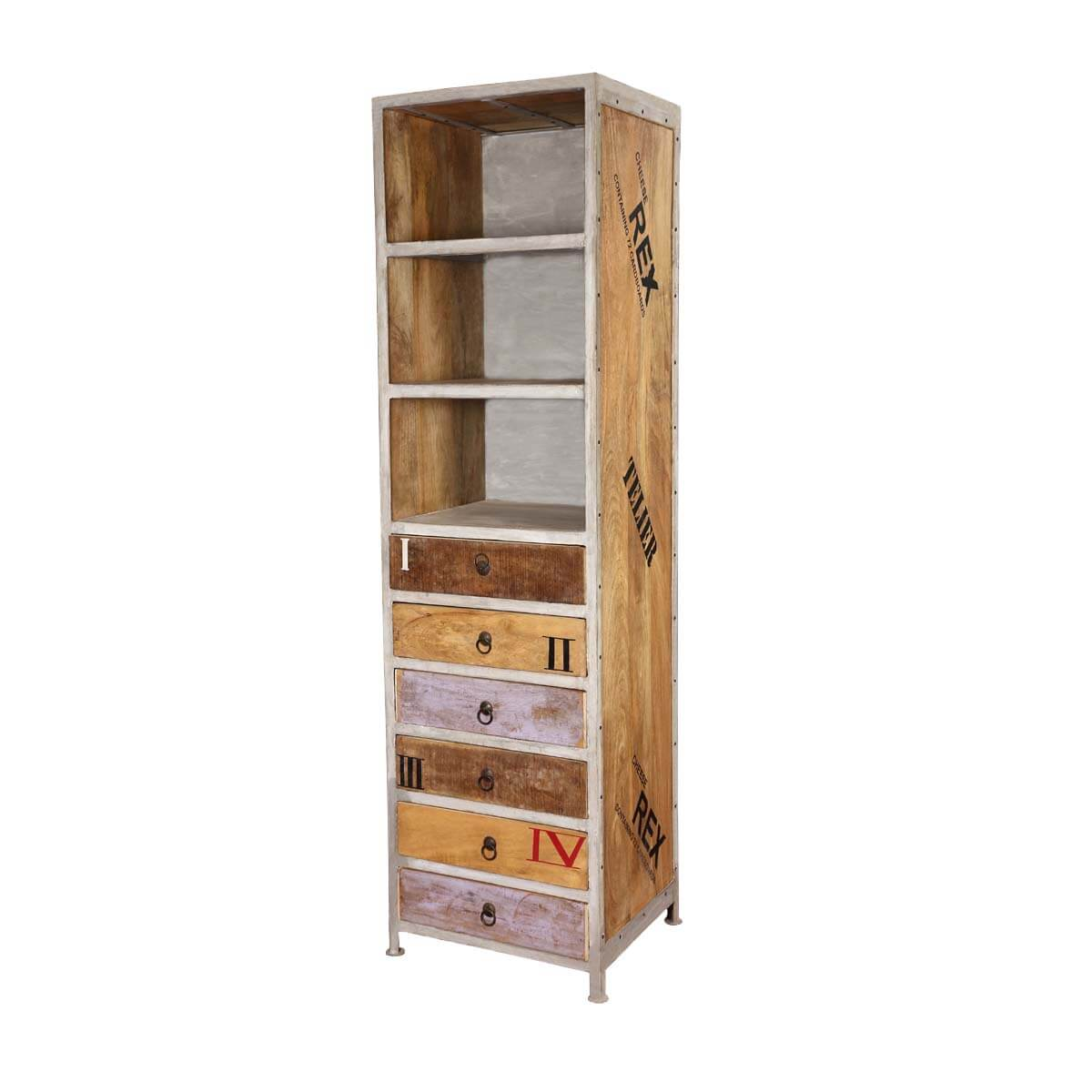 Ripon 3 Open Shelf Rustic Industrial Tall Narrow Bookcase With Drawers