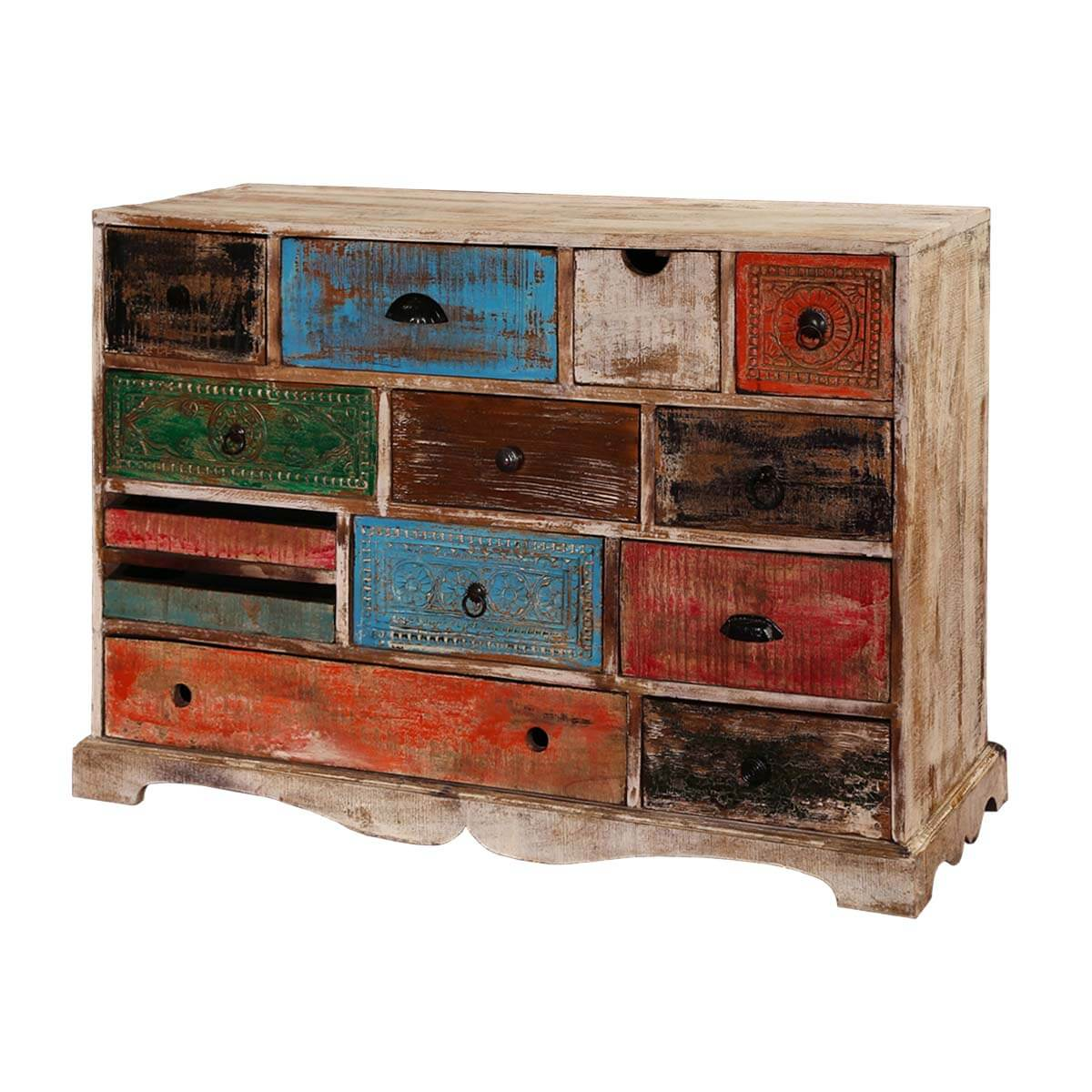 Rustic Rainbow Mango Wood 13 Drawer Accent Horizontal Dresser