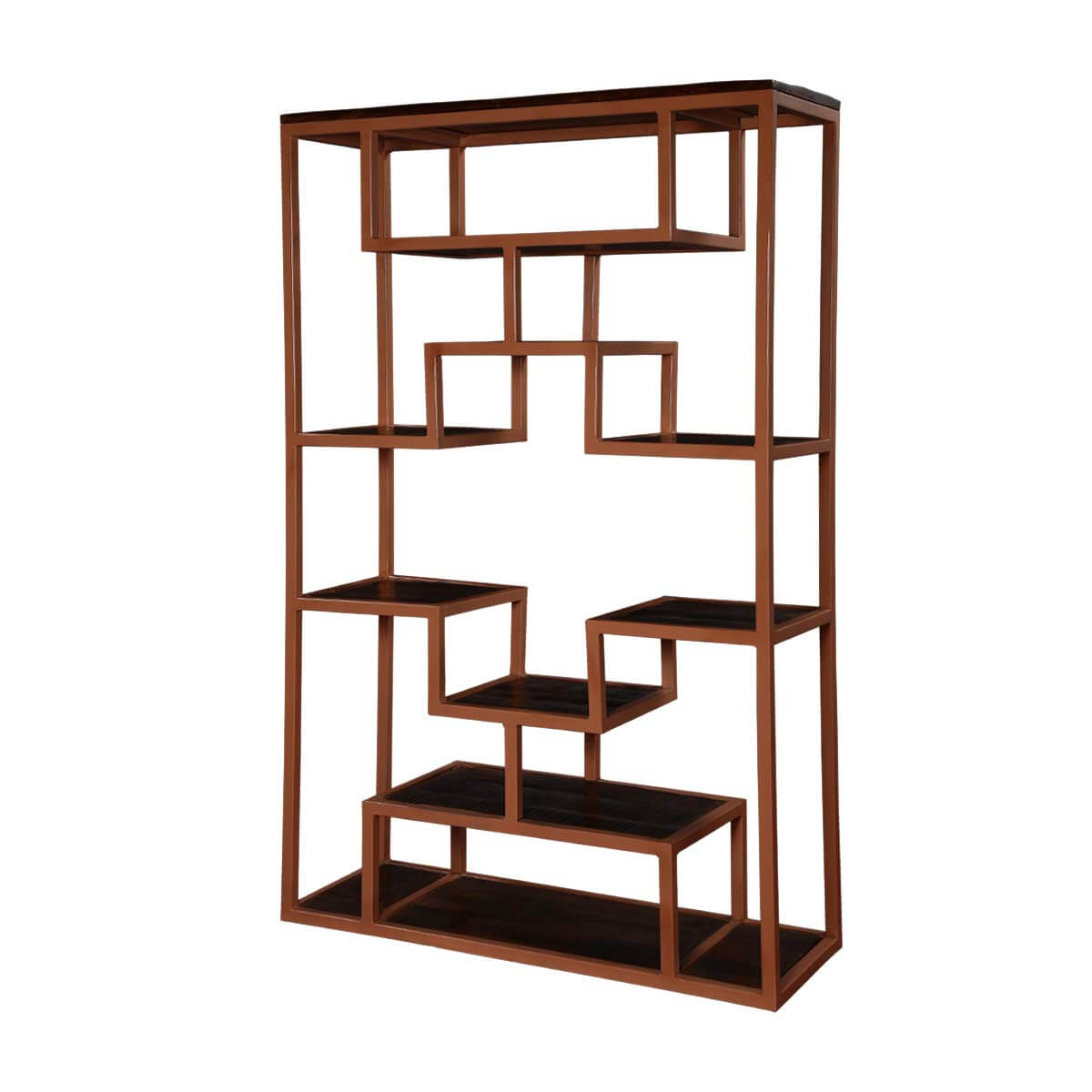 "Wood & Iron 63"" Asymmetrical Bookcase Open Display Wall Unit"