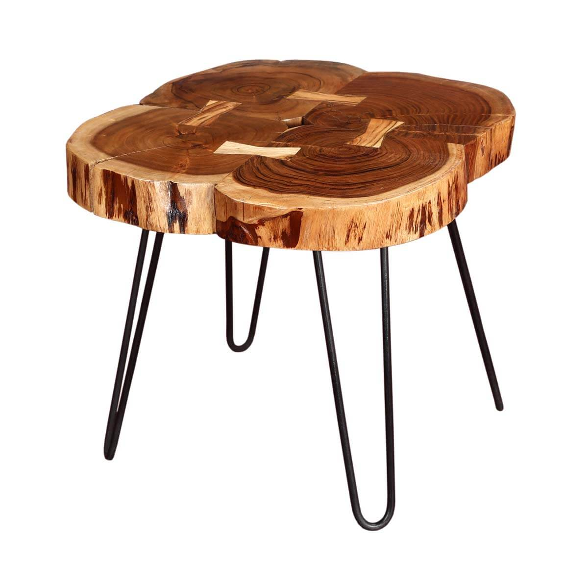 4 Tree Rings Rosewood & Iron Accent End Table
