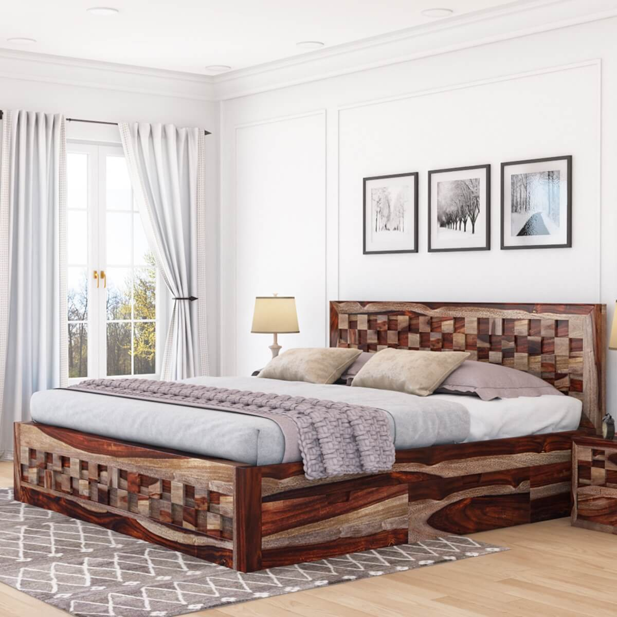Checkered Solid Wood Full Size Captains Platform Bed