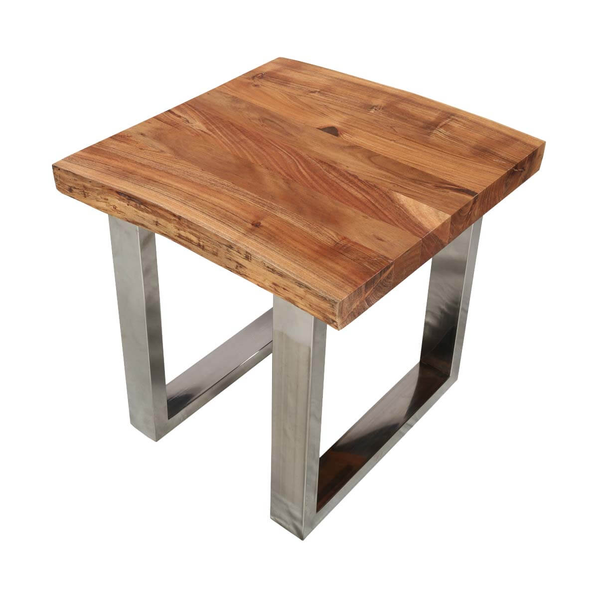 Natural Edge Acacia Wood & Steel Square End Table