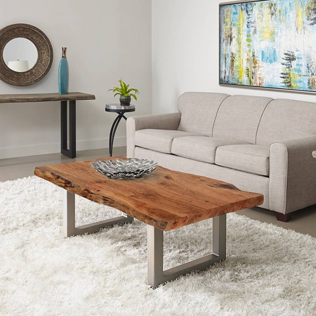 Natural Edge Acacia Wood Amp Steel 55 Long Coffee Table
