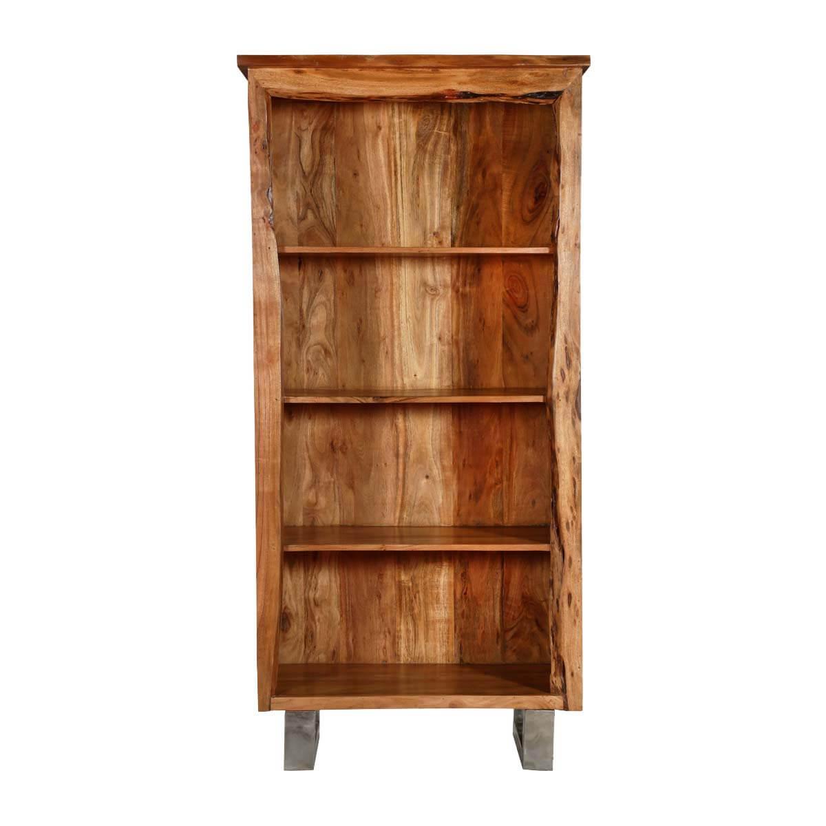 Natural Edge Modern Acacia Wood & Steel Standing 4-Shelf