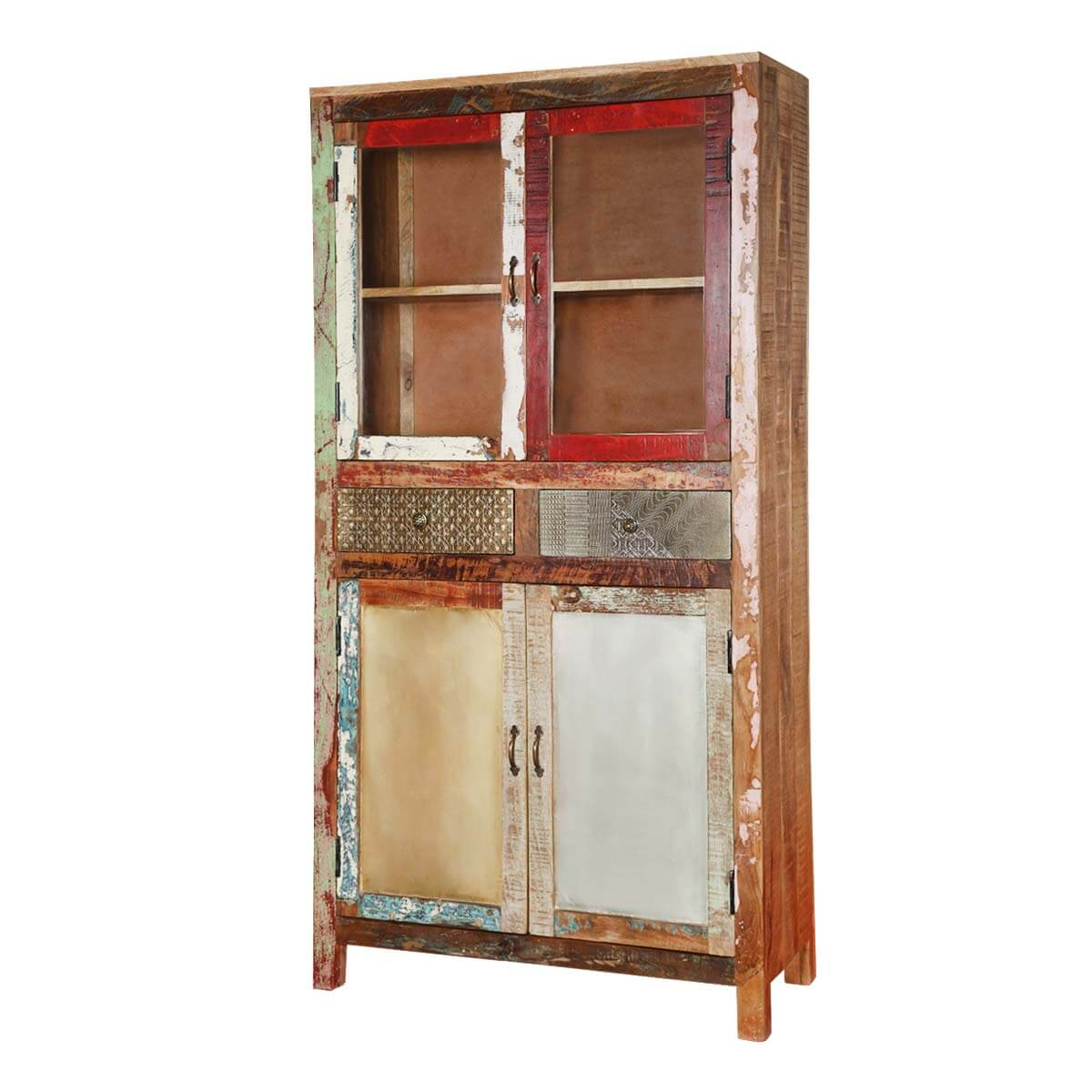 "Rustic Patches Reclaimed Wood 68"" Breakfront Wall Accent Cabinet"