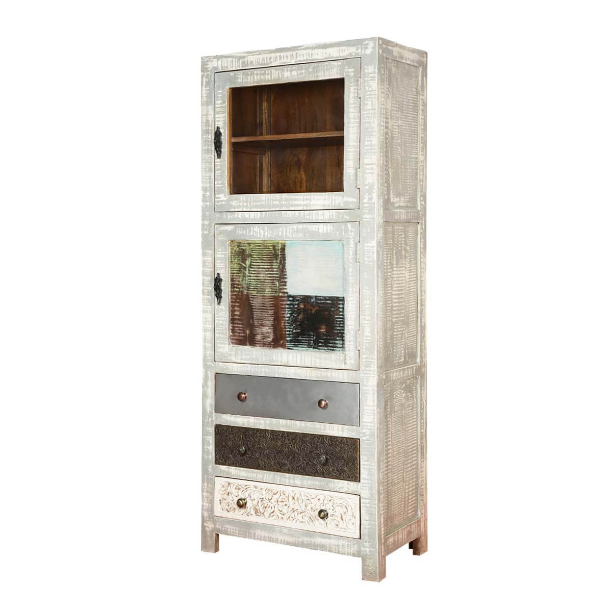 Mississippi Chic Solid Wood Two Single Door 3 Drawer Display Cabinet
