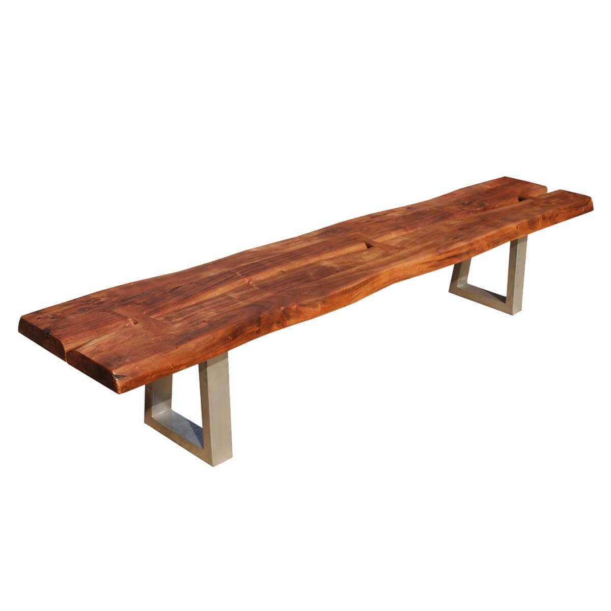 Belfort Live Edge Acacia Wood & Iron Long Backless Bench
