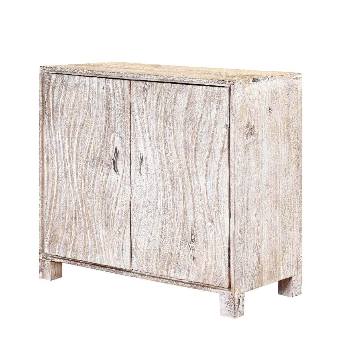 Merton White Wash Mango Wood Freestanding 2 Door Accent Cabinet