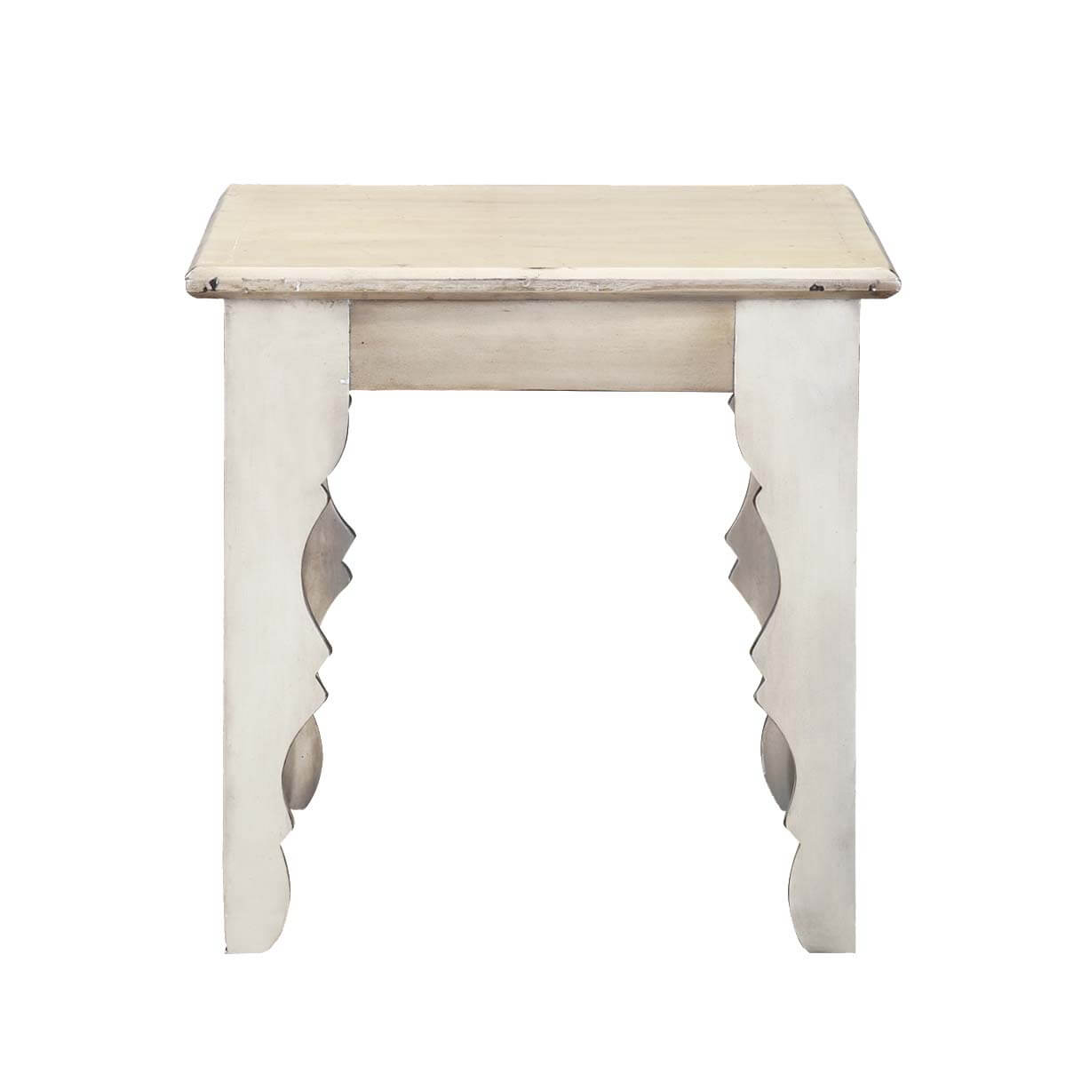 Winter White Rustic Mango Wood Square Accent End Table