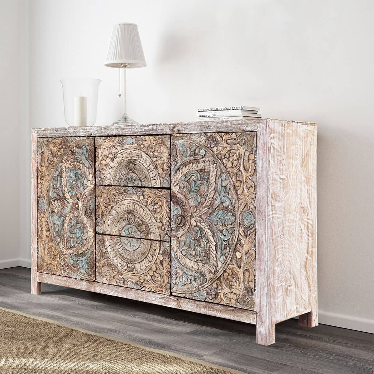 Avenal Floral Mandalas Solid Wood Hand Carved Accent Buffet Cabinet