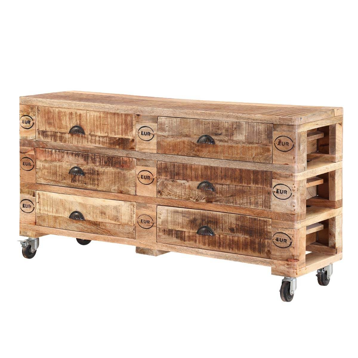 Rustic Industrial Mango Wood 6 Drawers Bedroom Dresser With Wheels