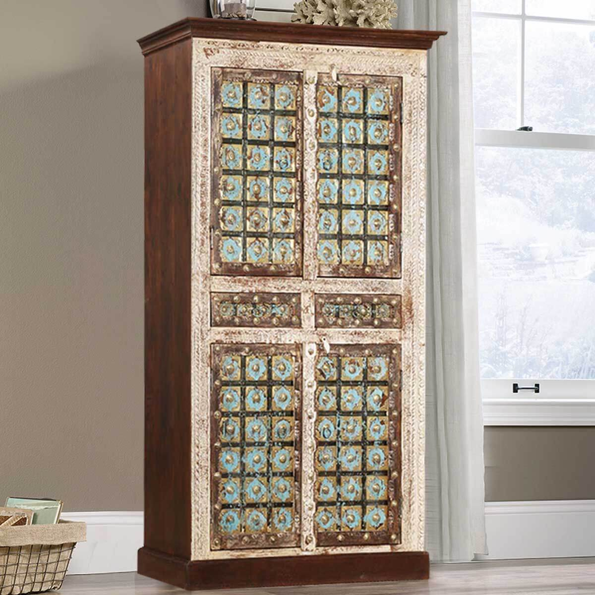Winter Empire Brass Inlay 4 Door Solid Mango Wood Armoire With Shelves