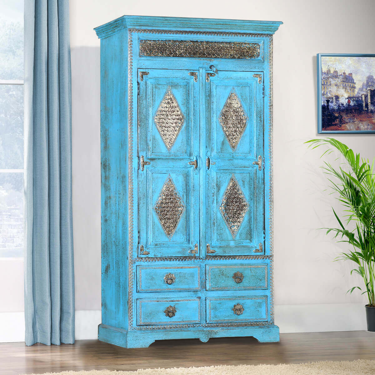 Turquoise Trail Brass Inlay Solid Wood Armoire With Shelves And Drawer