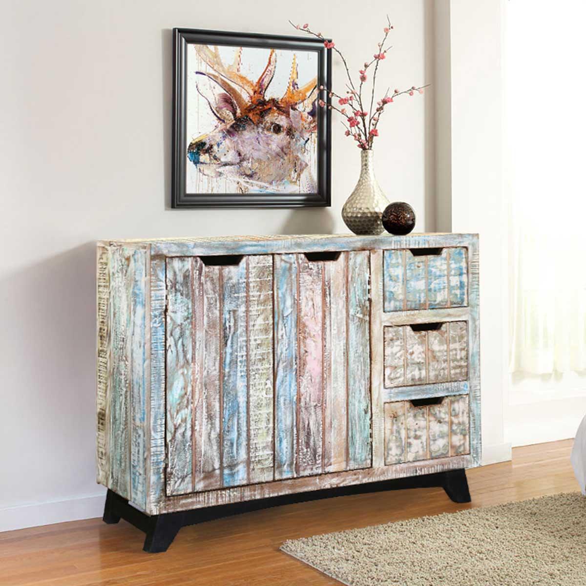 Elegant Handcrafted Reclaimed Wood 3 Drawer Storage Cabinet