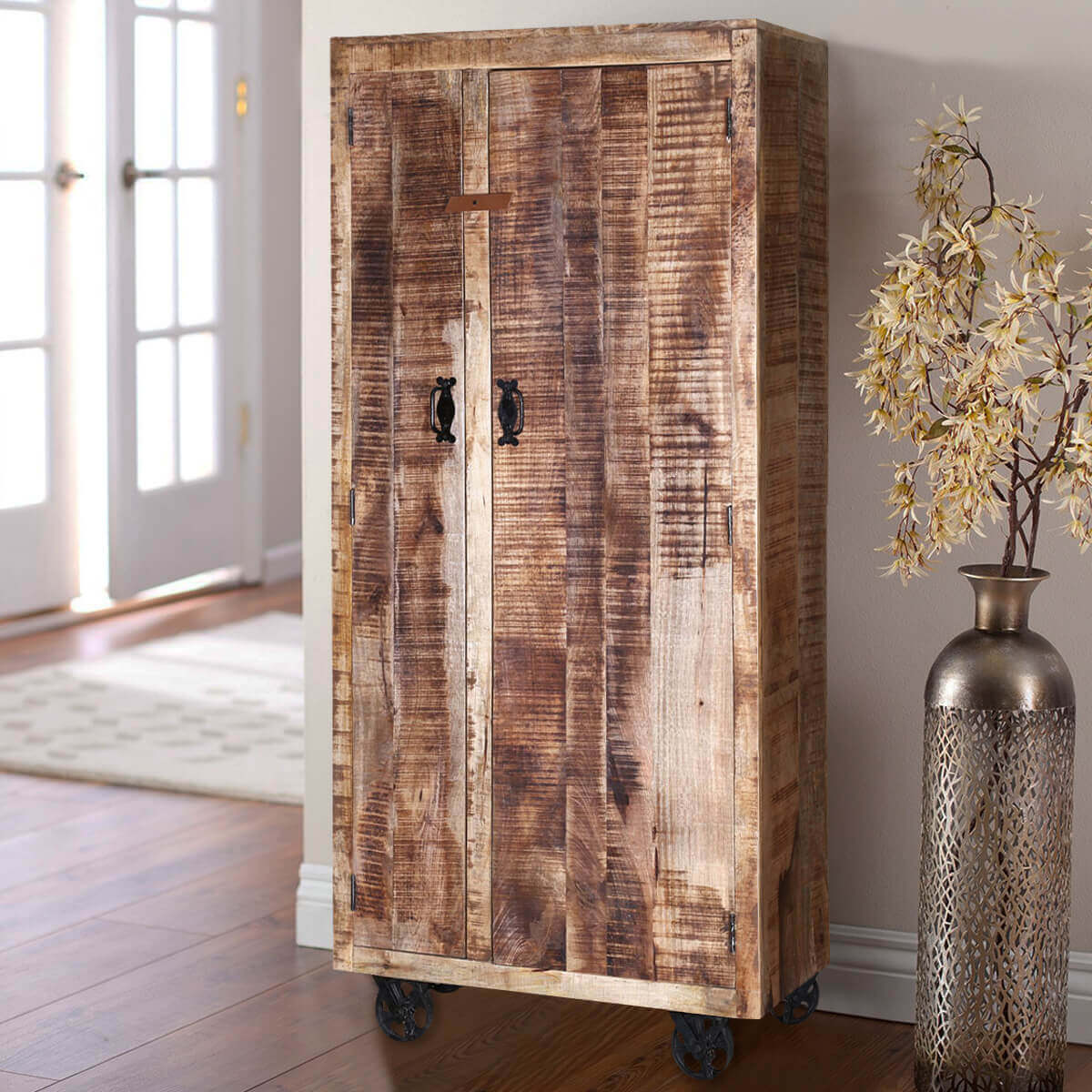 low priced fbd6e b9b50 Industrial Pioneer Rustic Solid Wood Armoire Wardrobe With Shelves