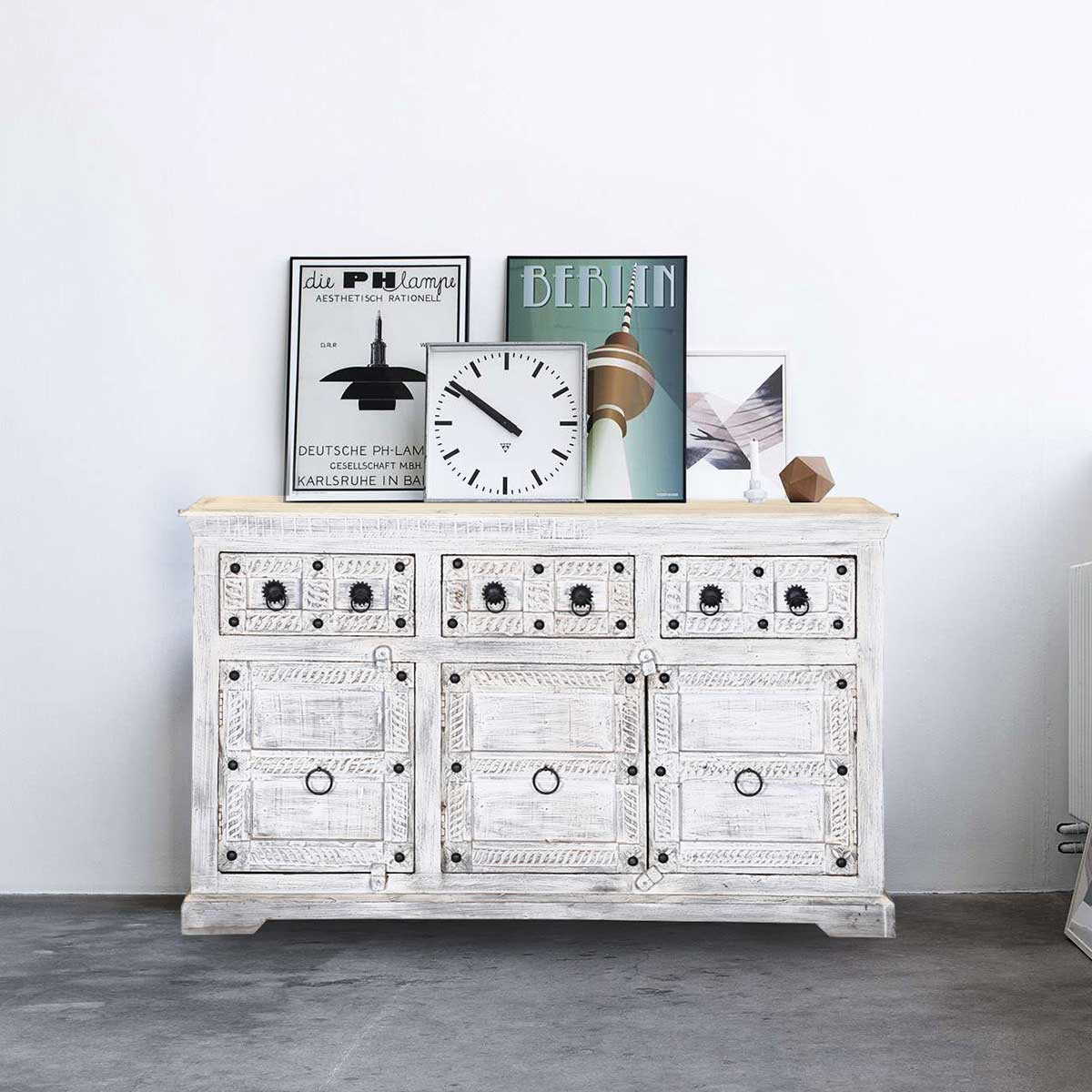Winter White Tudor Reclaimed Wood 3 Drawer Sideboard Cabinet