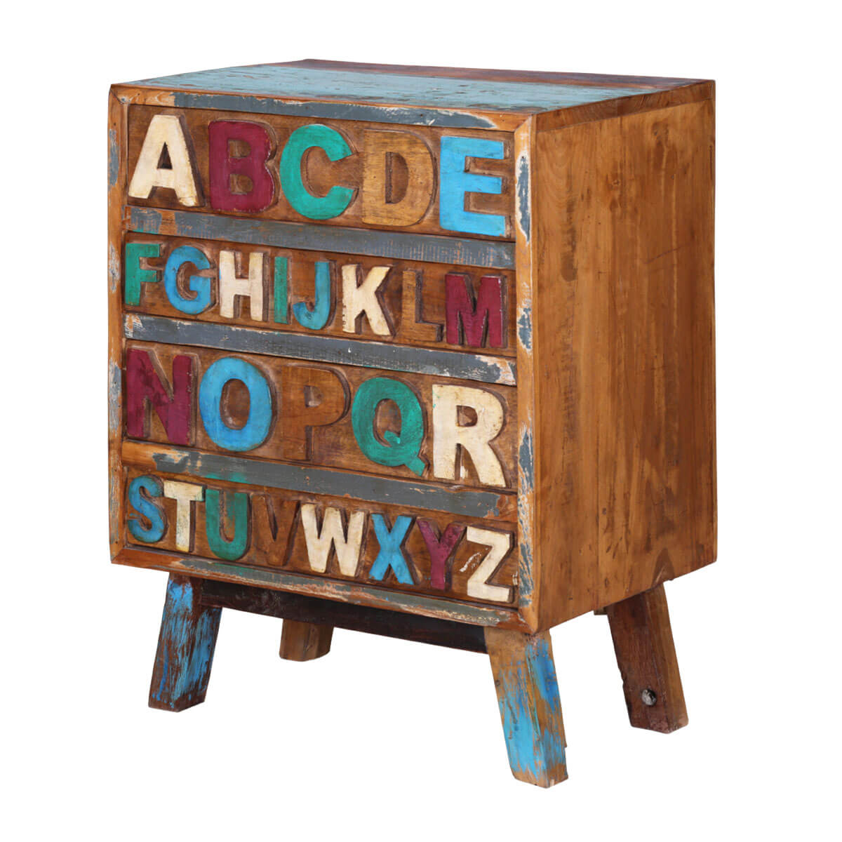 Anaheim Alphabet Handcrafted Reclaimed Wood 4 Drawer Chest