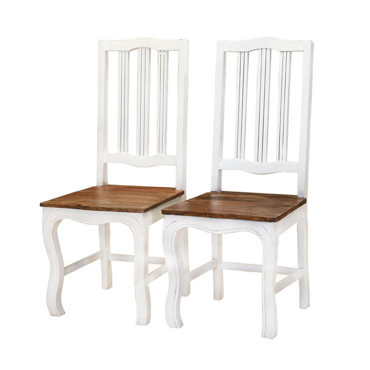 Groovy Rehoboth White And Natural Wood Cabriole Dining Chairs Set Of 2 Ibusinesslaw Wood Chair Design Ideas Ibusinesslaworg