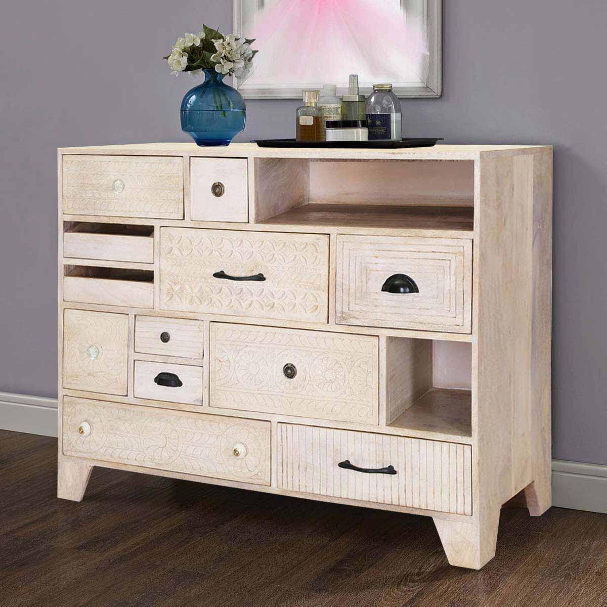 Aspen Handcarved Rustic Solid Wood 12 Drawer Dresser
