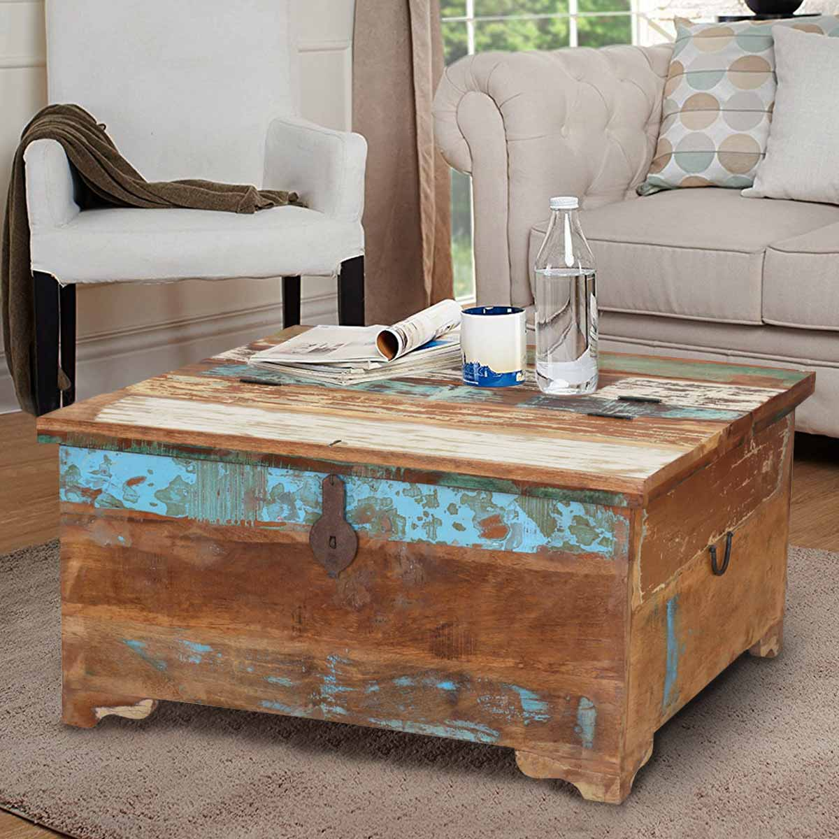 - Rustic Reclaimed Wood Coffee Table Storage Trunk