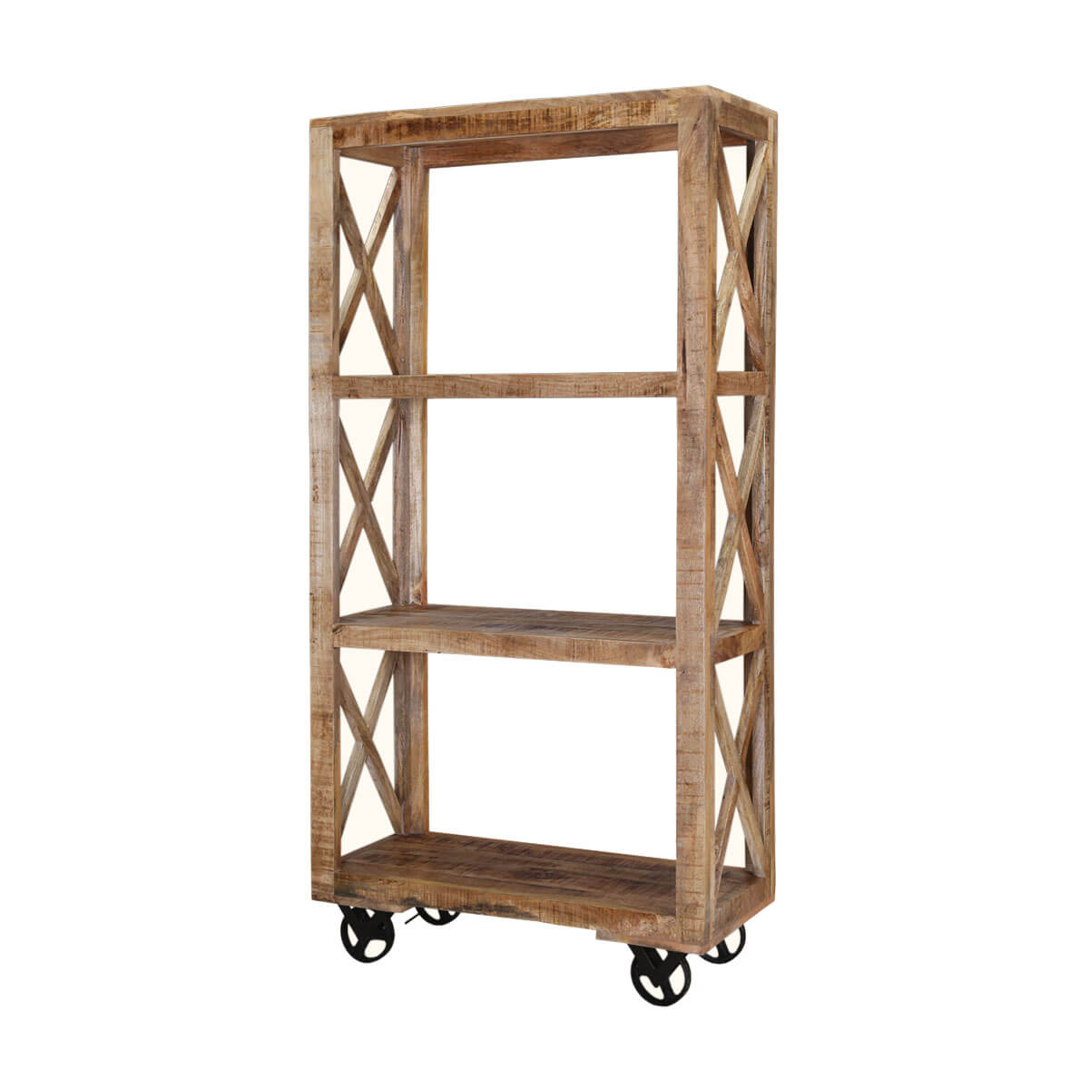 Astoria 3 Open Shelf Industrial Solid Wood Rolling Bookcase