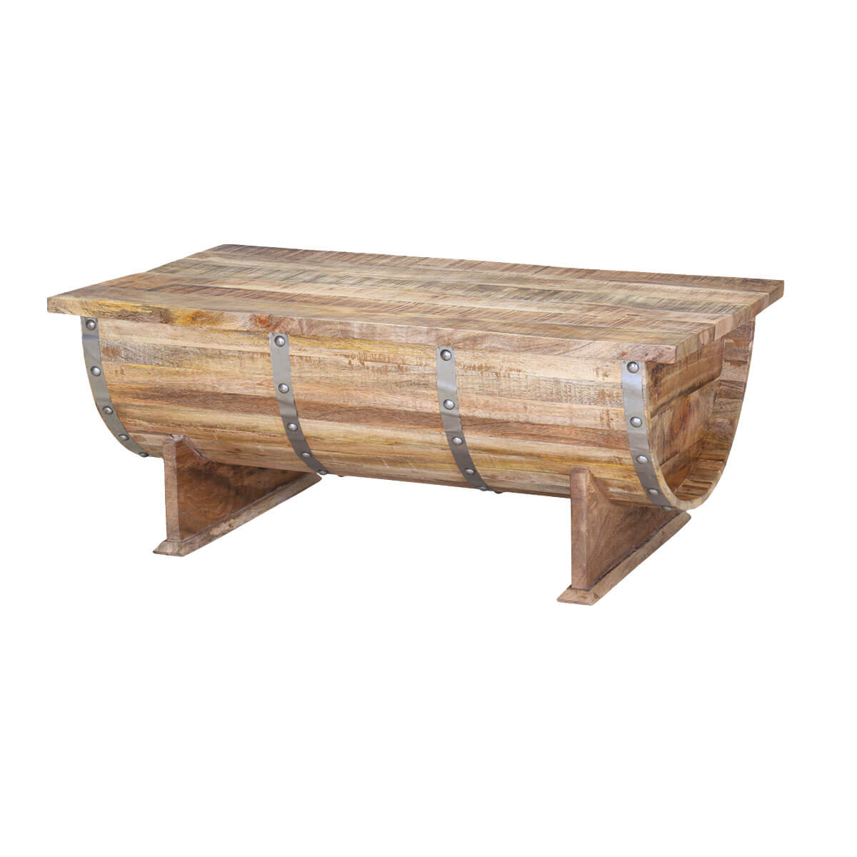 Rustic Pioneer Mango Wood Standing Half Barrel Chest Coffee Table
