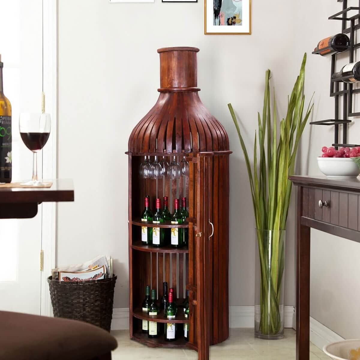 36ce32e10a Bordeaux Handcrafted Solid Wood Wine Bottle Storage Bar Cabinet. Hover to  zoom