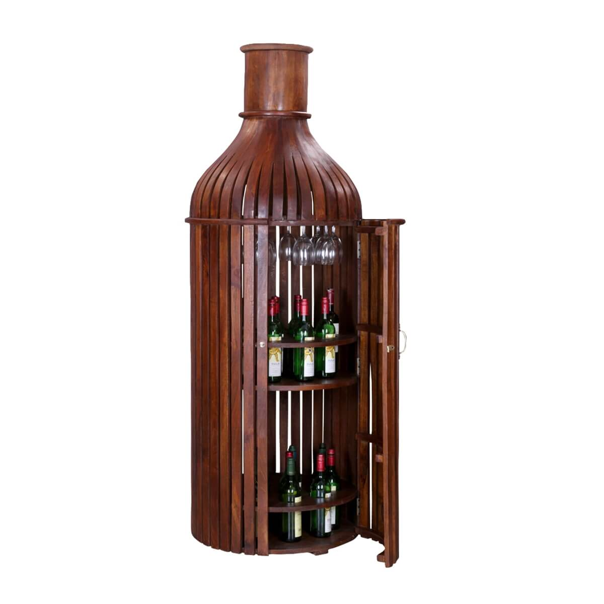 86bbf1843e Bordeaux Handcrafted Solid Wood Wine Bottle Storage Bar Cabinet
