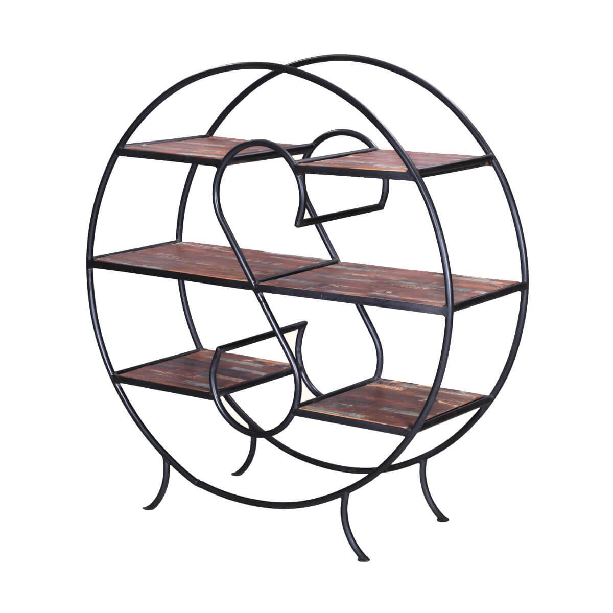 Napa Valley Reclaimed Wood & Iron Oval 3-Tier Display Shelf