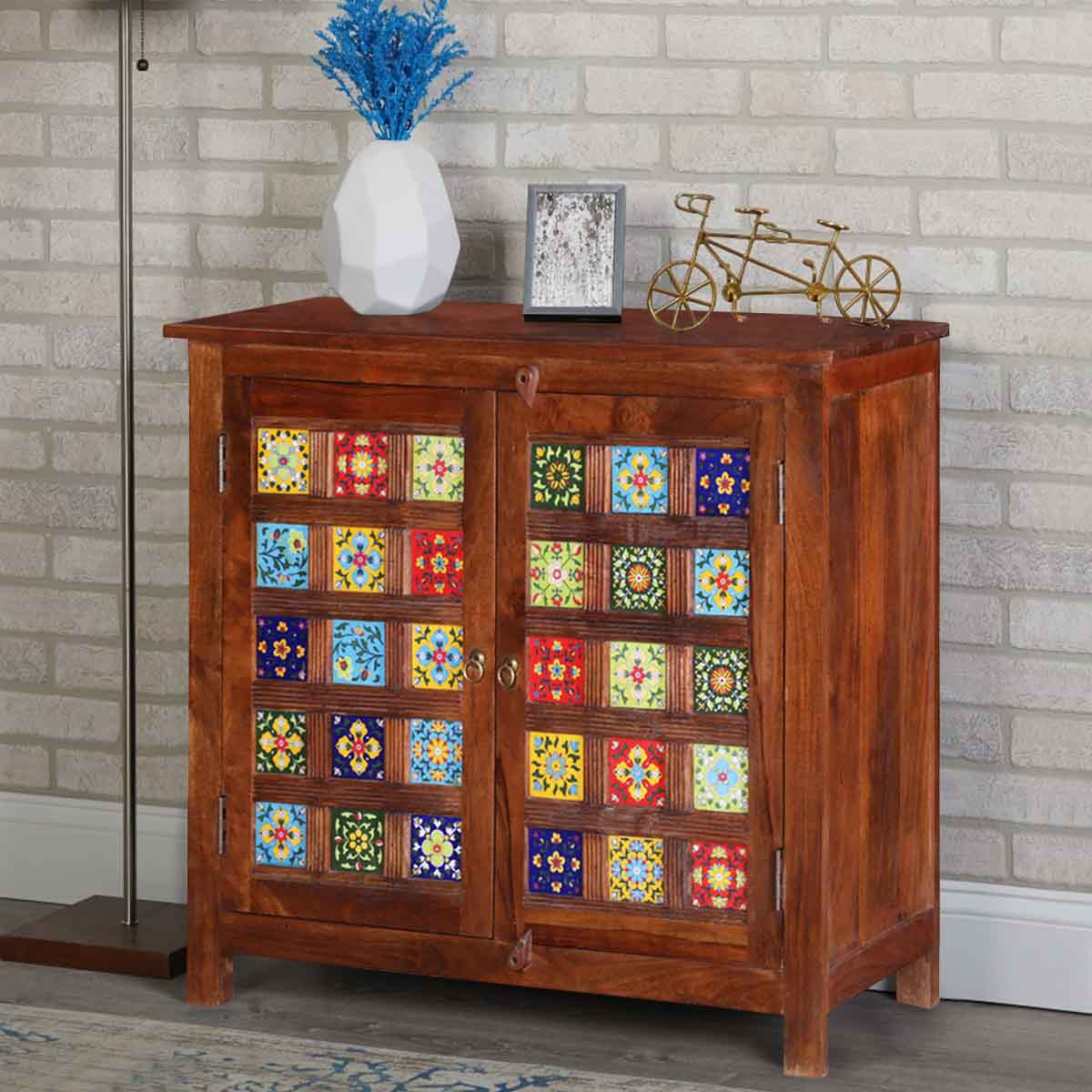 Mallorca Floral Tiled Handcrafted Solid Wood Storage Cabinet