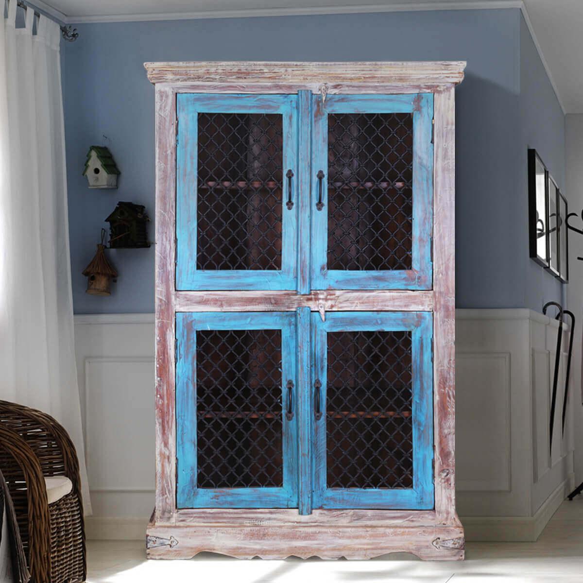 Berwick Rustic Mango Wood Iron Grill Door Large Display Cabinet
