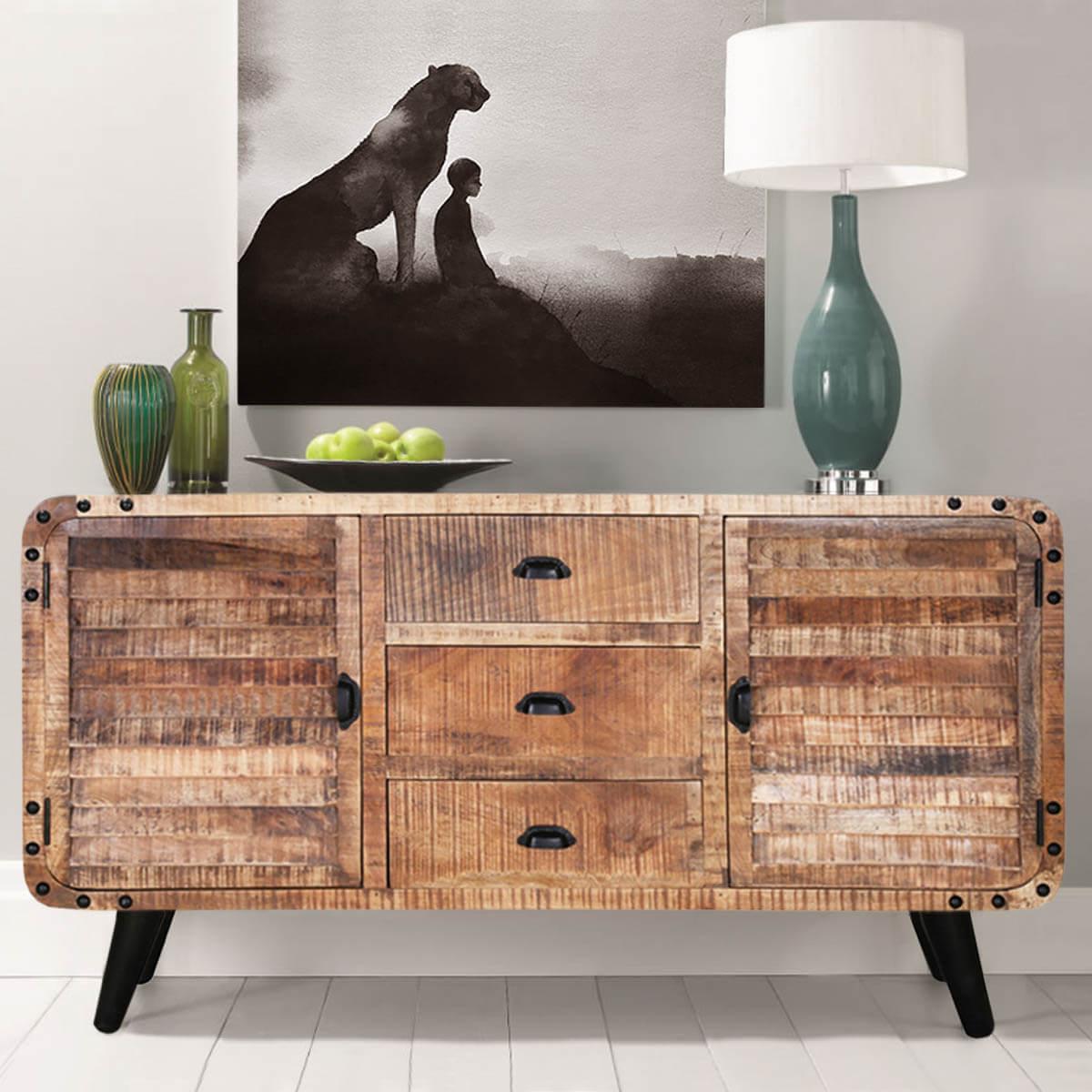 Castine Retro Rustic Mango Wood 3 Drawer Industrial Sideboard