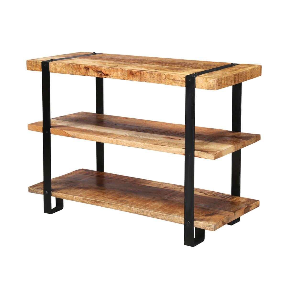Grafton 3-Tier Open Shelf Rustic Solid Wood Industrial Bookcase