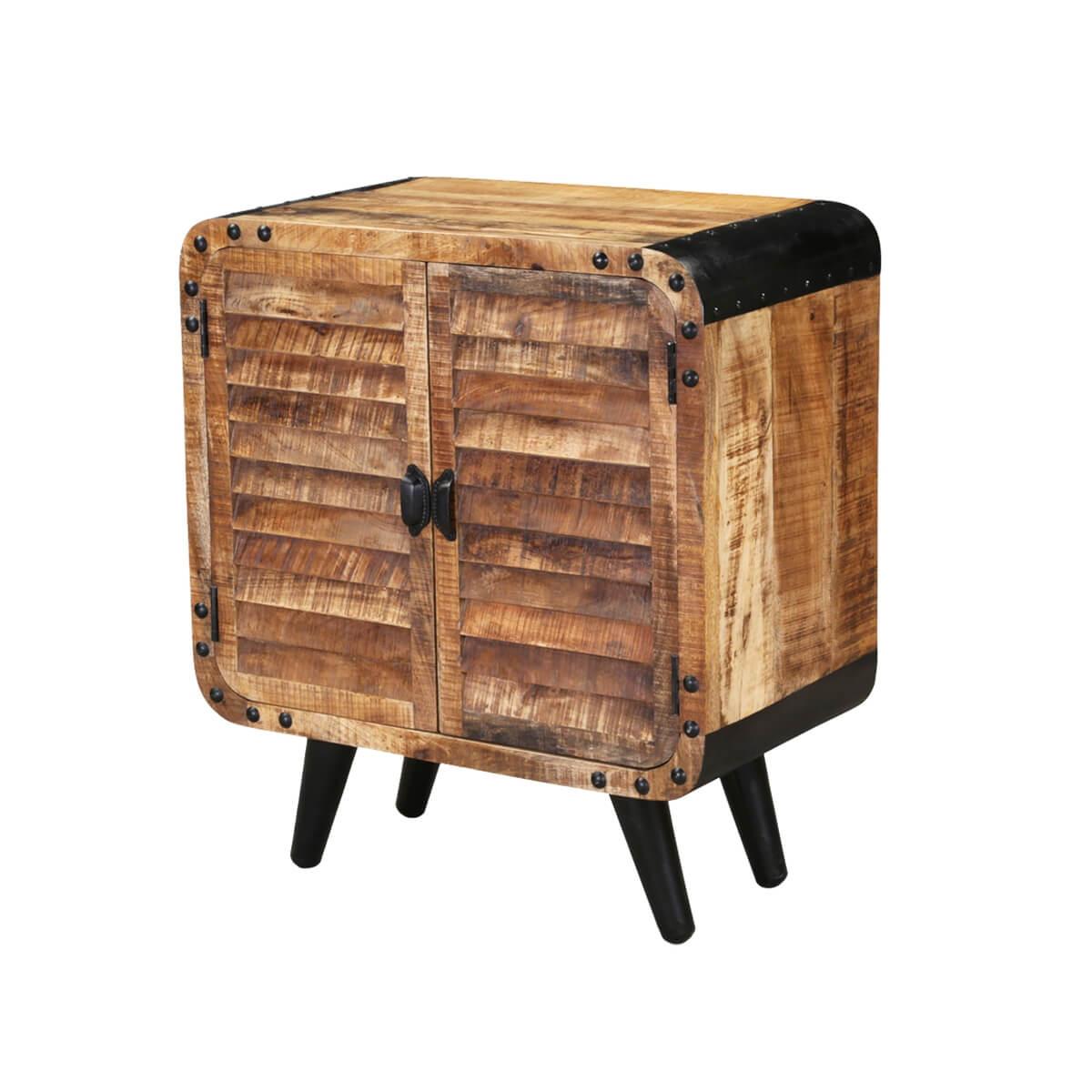 Retro Rustic Mango Wood Shutter Door Industrial Dining Cabinet
