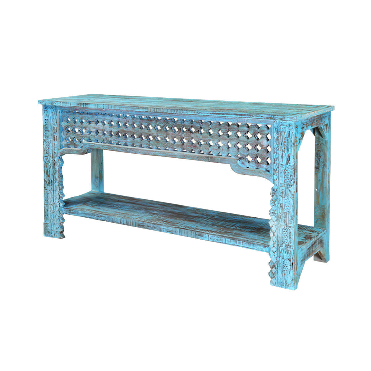 Blue Diamonds Hand Carved Mango Wood Hall Console Table