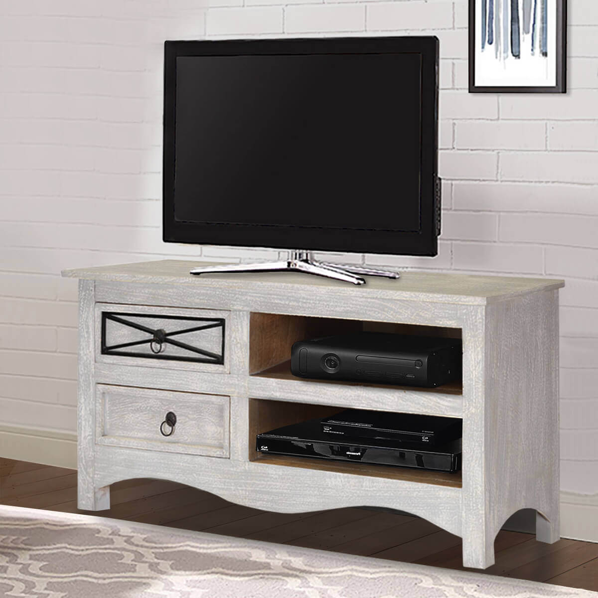 Early Winter White Rustic Mango Wood TV Entertainment Cabinet