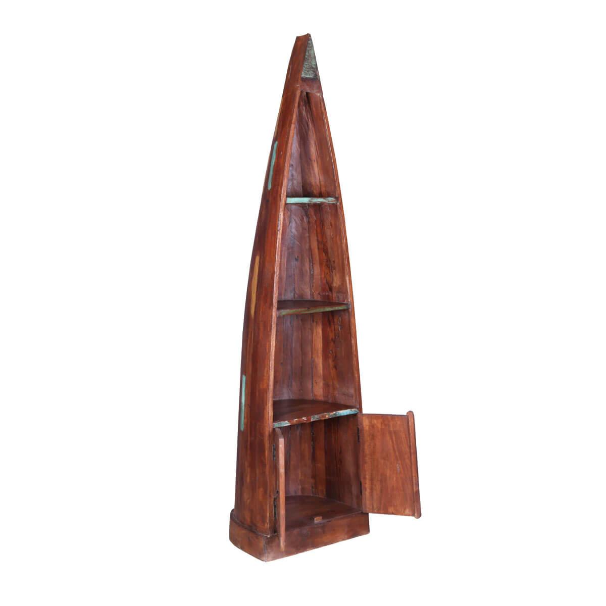 Weirton 3 Open Shelf Reclaimed Wood Canoe Bookcase With Door Cabinet