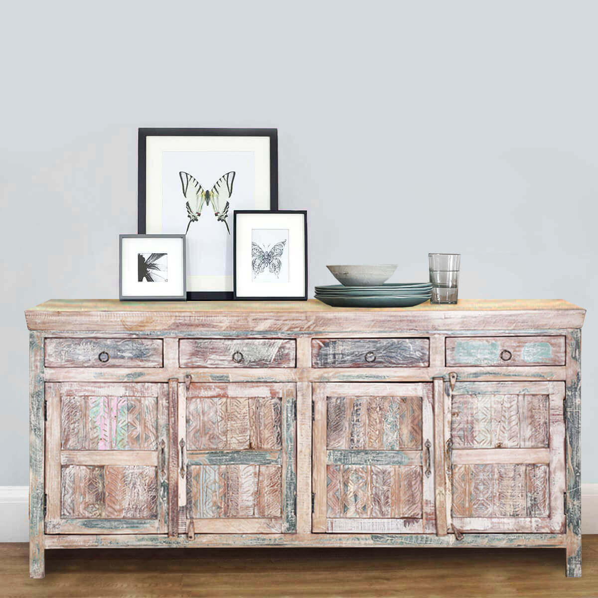 Edon Handcrafted Rustic Reclaimed Wood 4 Drawer Large  Sideboard