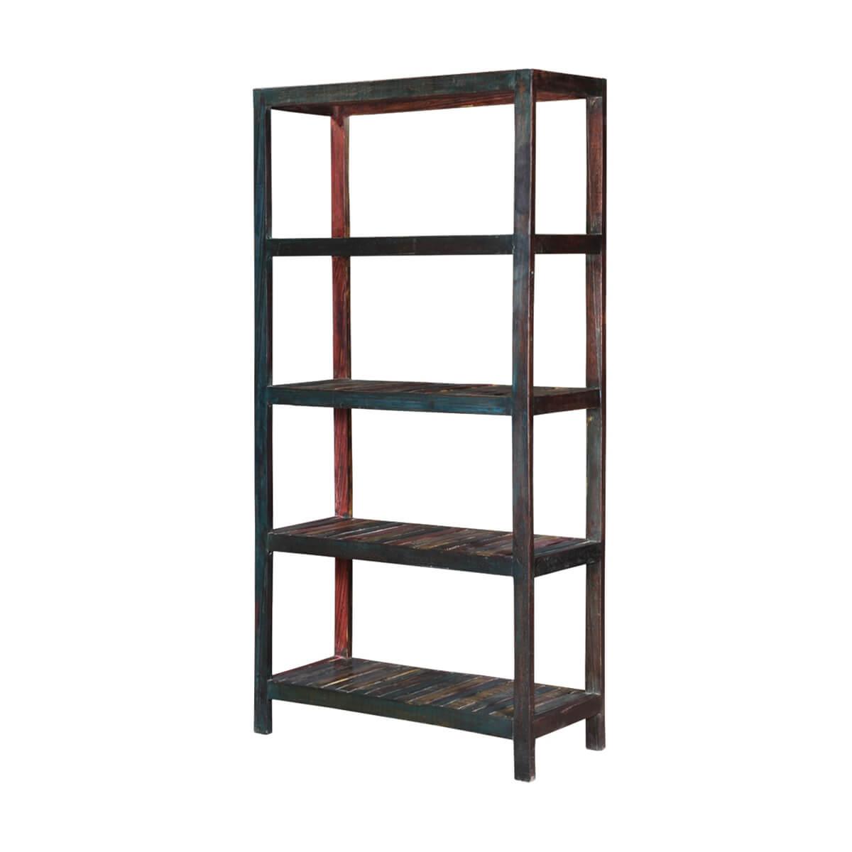 Telluride 4 Open Shelf Rustic Reclaimed Wood Bookcase