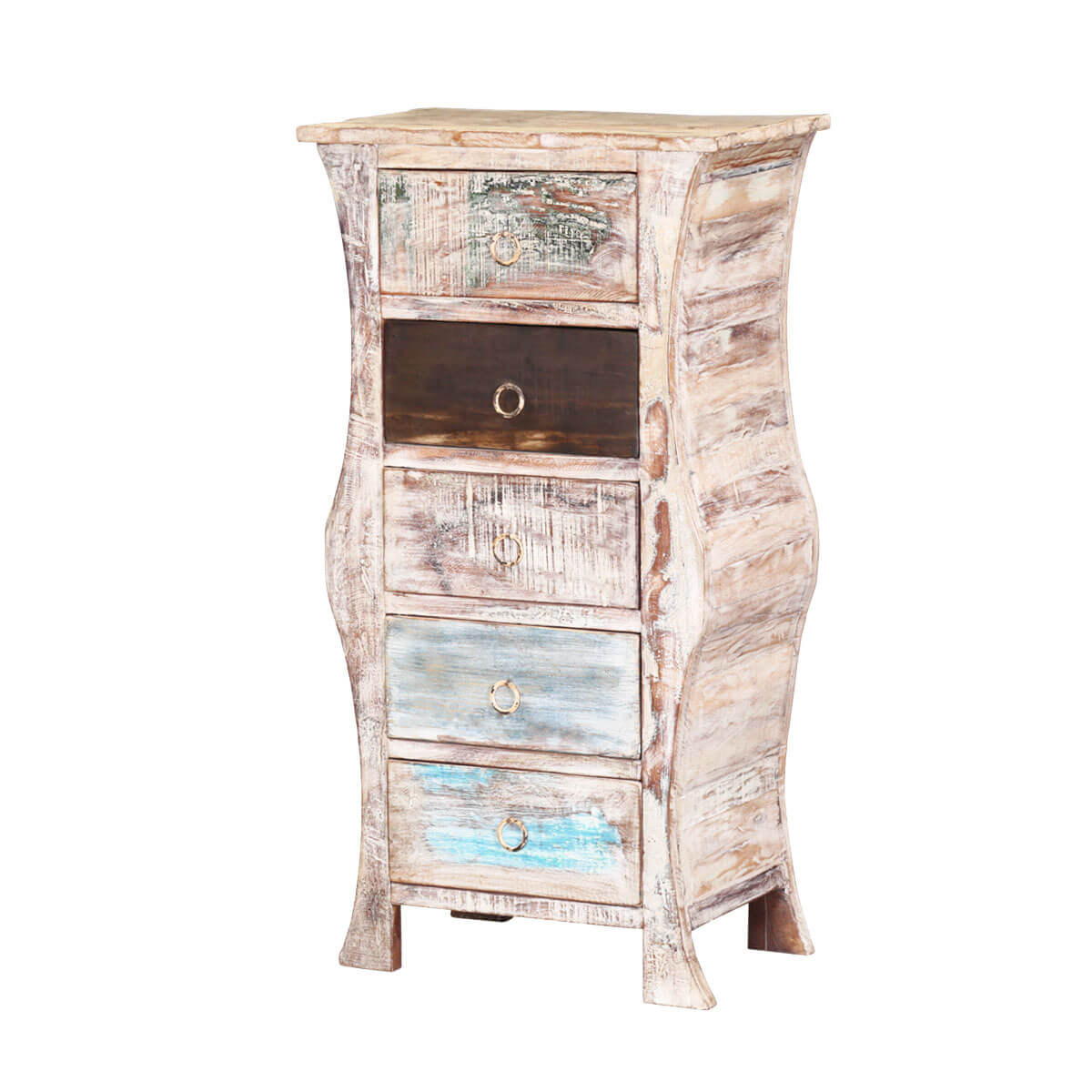 French Bombe Winter White Reclaimed Wood 5 Drawer Chest