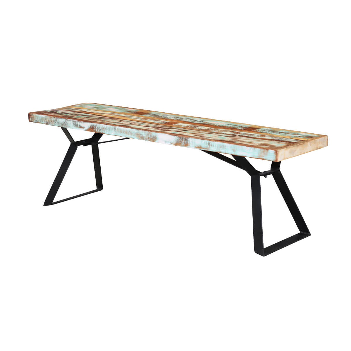 Rainbow 59 Handcrafted Reclaimed Wood Industrial Dining Bench