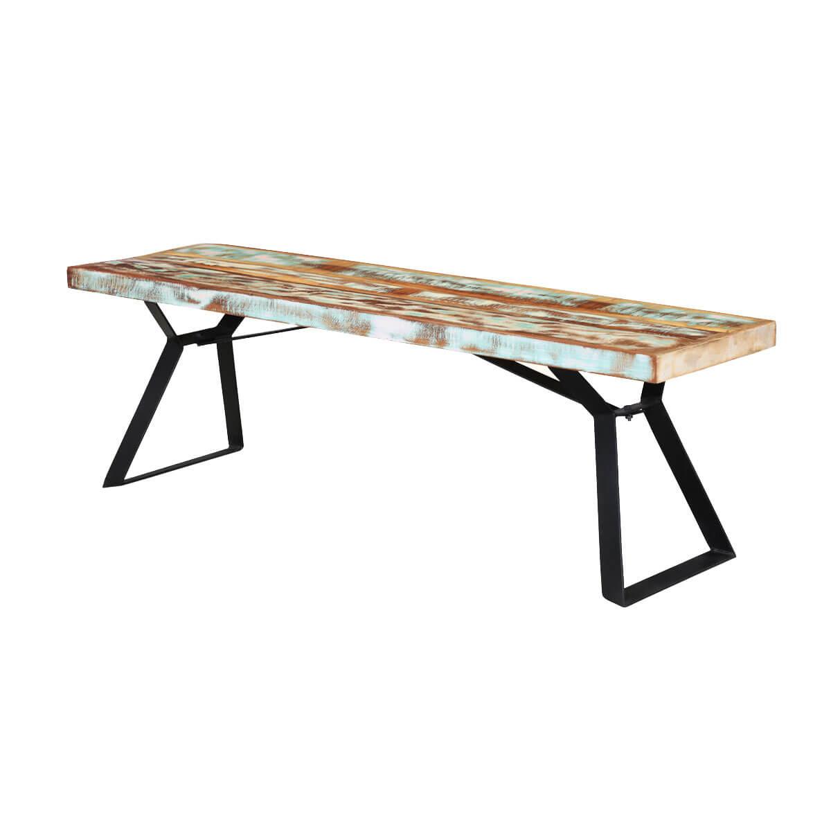 Pleasing Rainbow 59 Handcrafted Reclaimed Wood Industrial Dining Bench Spiritservingveterans Wood Chair Design Ideas Spiritservingveteransorg