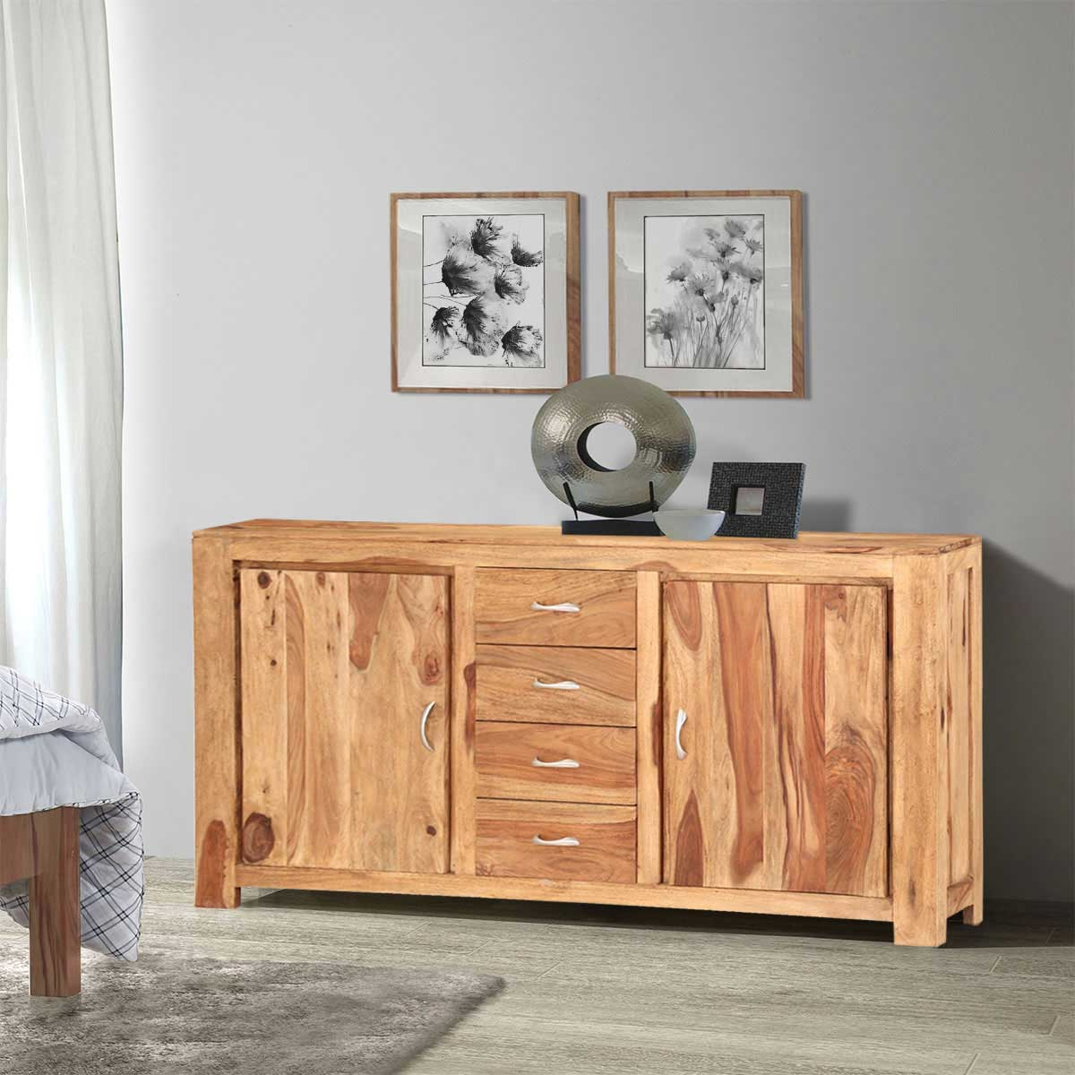 Mercer Rustic Solid Wood 4 Drawer Large Sideboard Cabinet