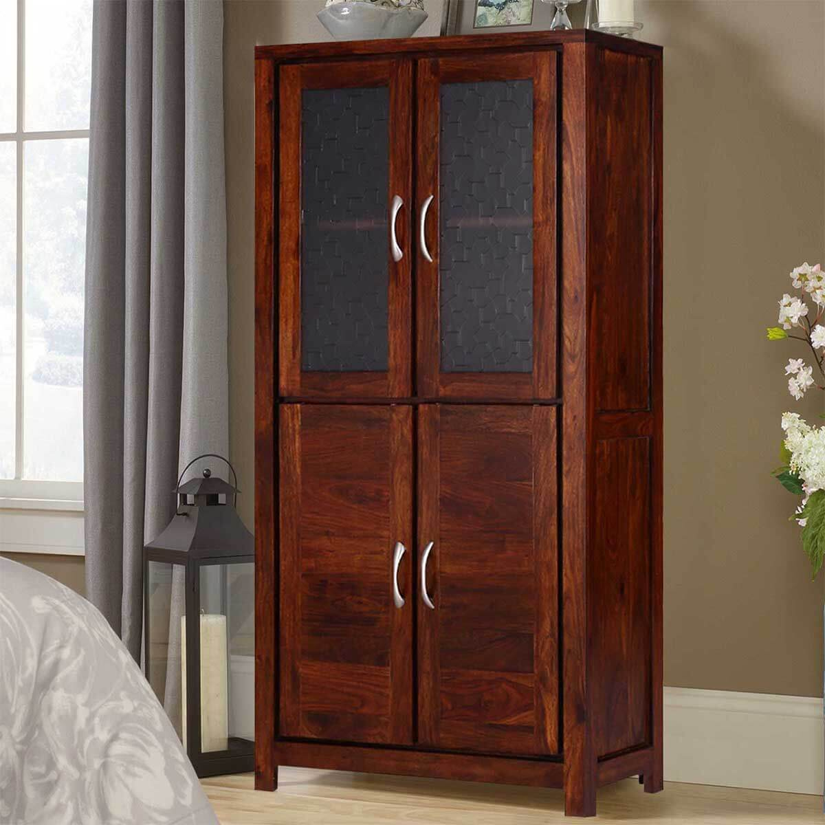 Allerton Rustic Solid Wood Display Cabinet Armoire With Shelves