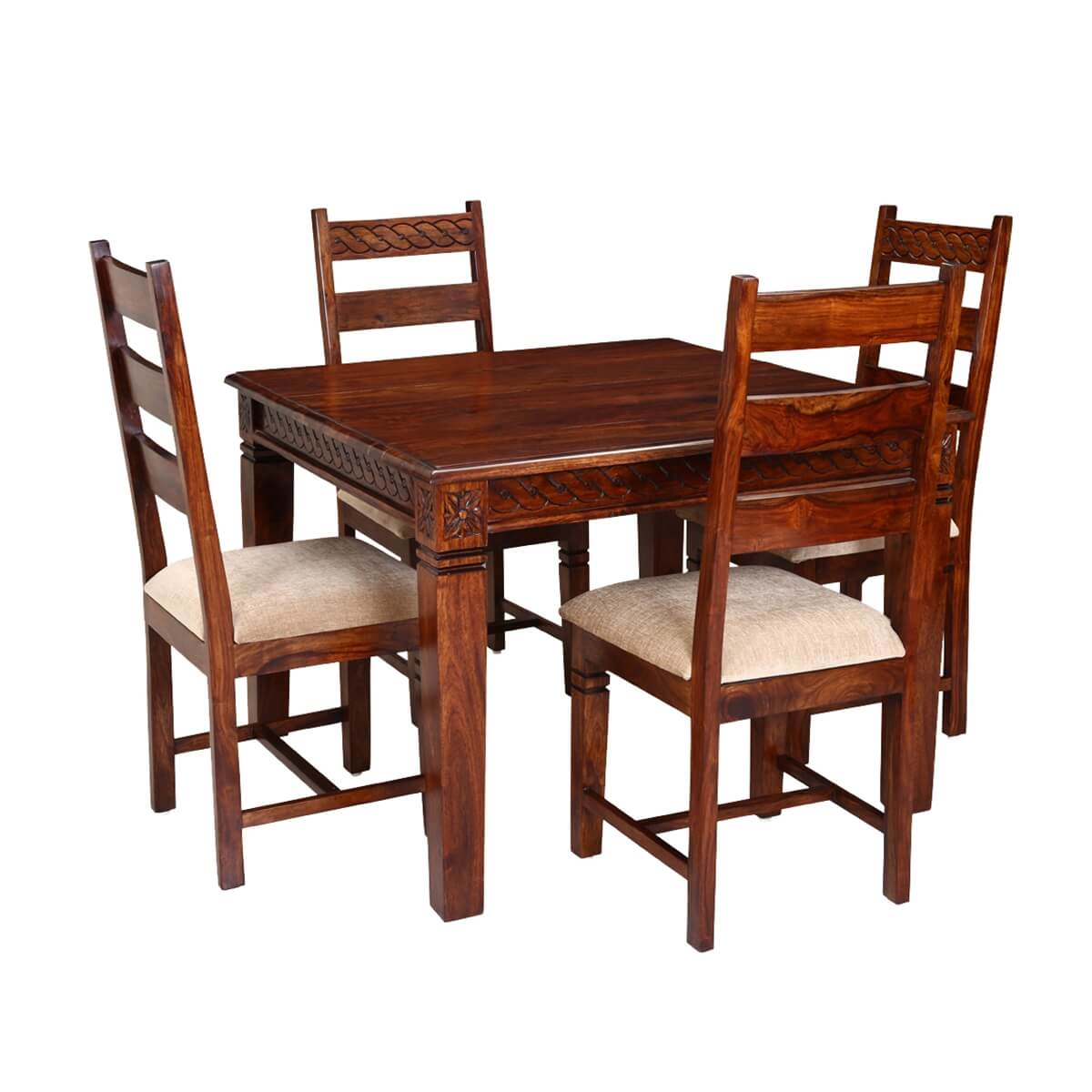 Solid Wood Table And Chairs: Handcrafted Solid Wood 5pc Square Dining Table And Chair Set
