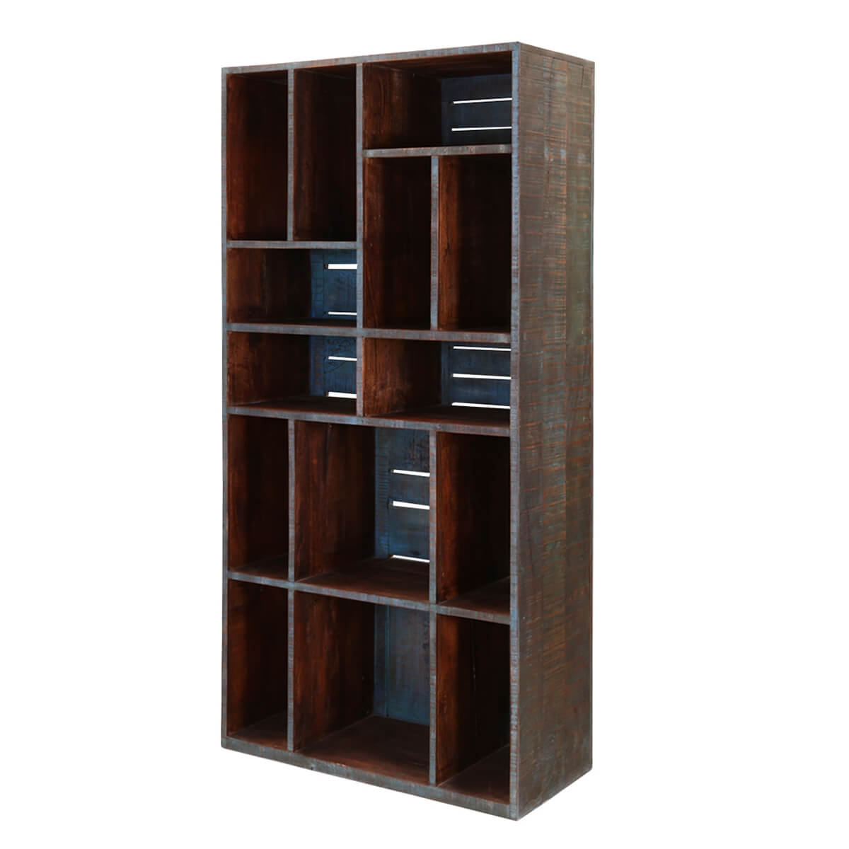 Parkersburg 14 Open Shelf Rustic Reclaimed Wood Bookcase