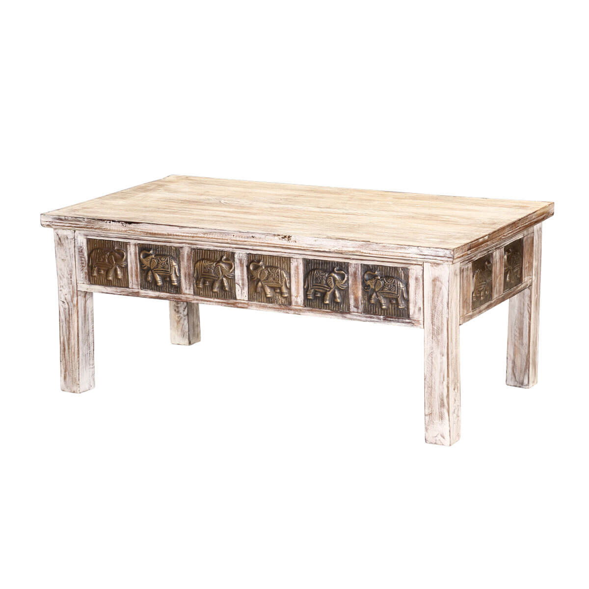 "Winter White Mango Wood Brass Inlay 43"" Rustic Coffee Table"