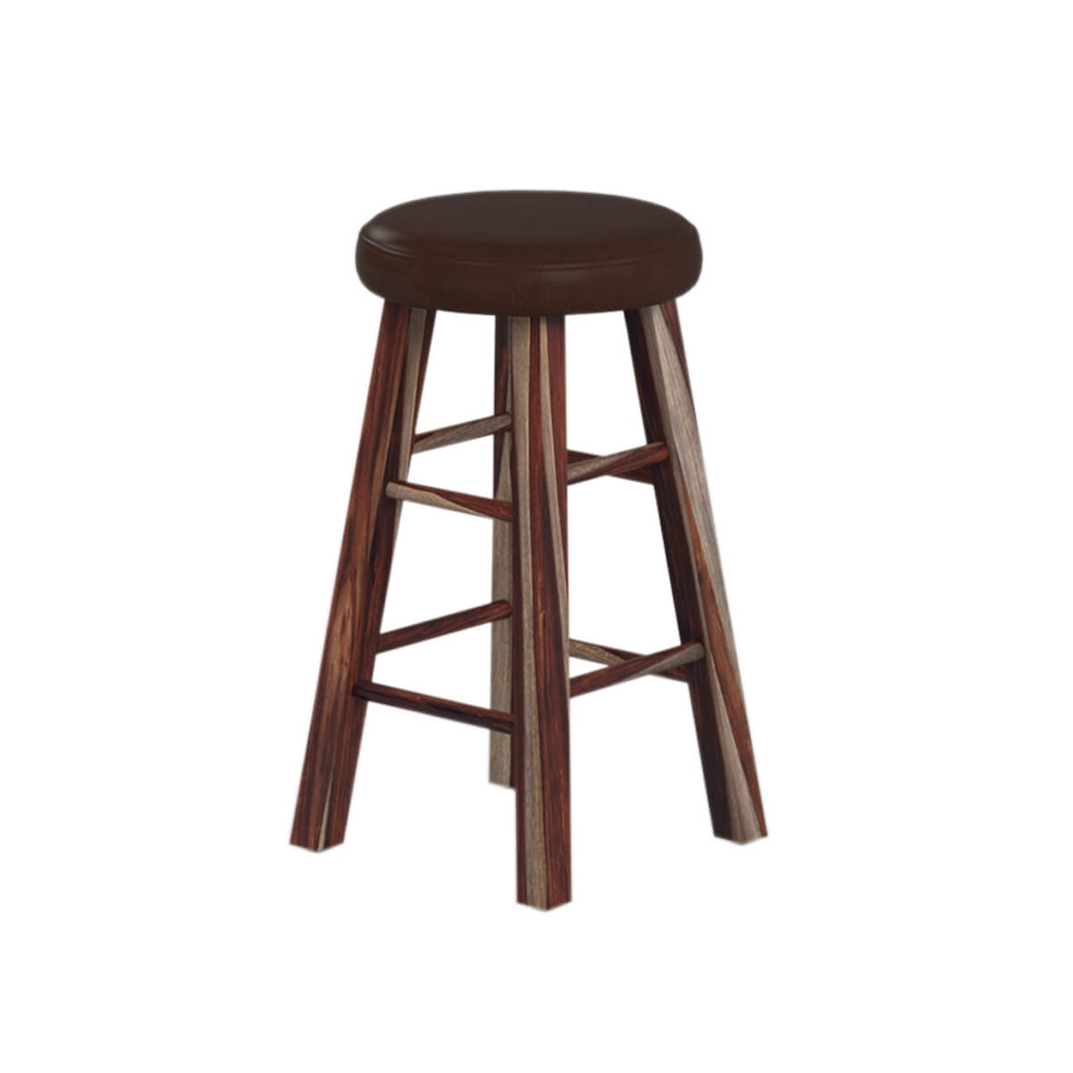 Minnesota Solid Wood & Leather Upholstered Rustic Round Bar Stool