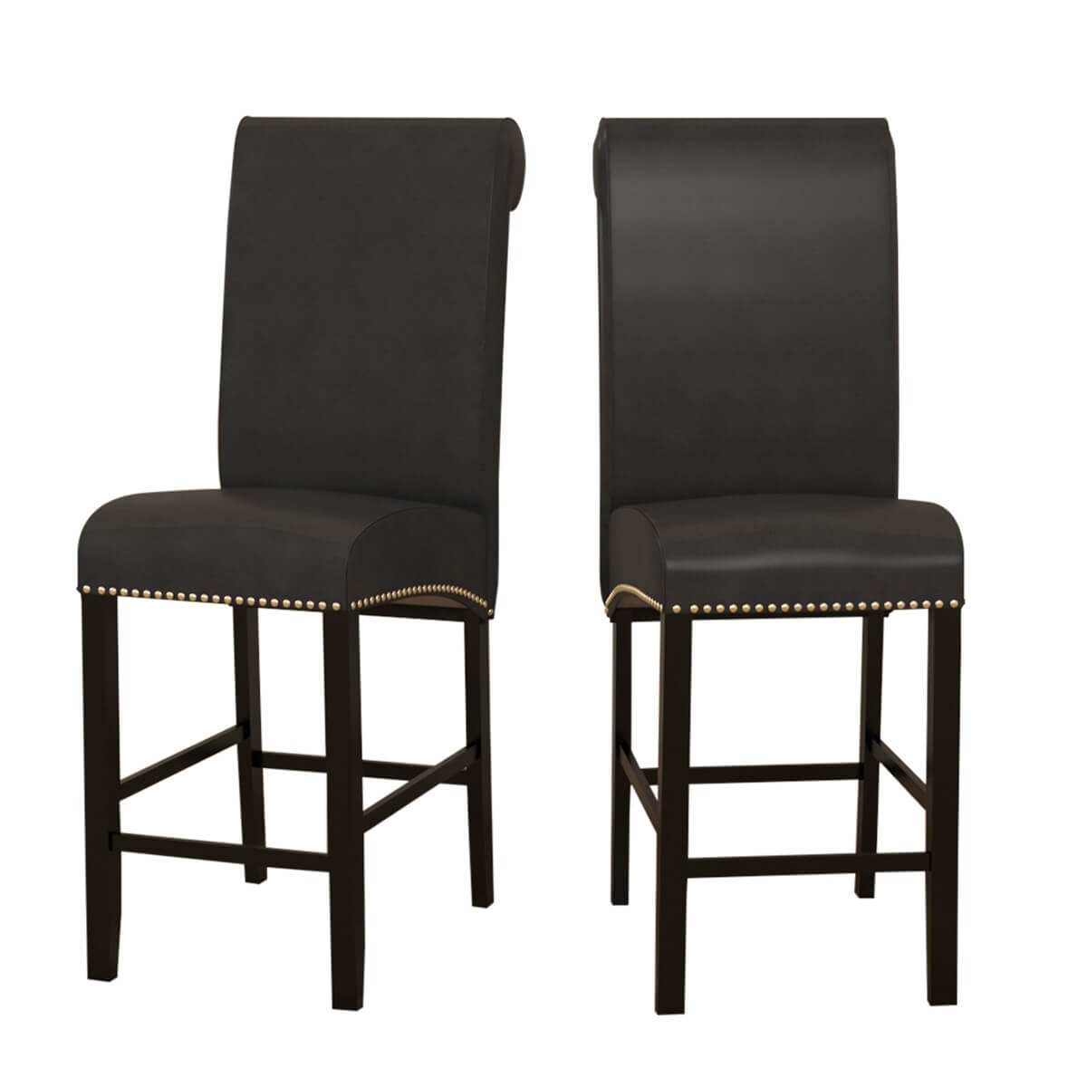 Gresham Contemporary Solid Wood Leather High Back Bar Chair