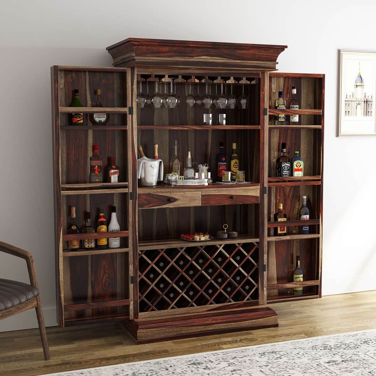 Wood Home Bar Furniture: Ohio Rustic Solid Wood Tall Wine Bar Cabinet